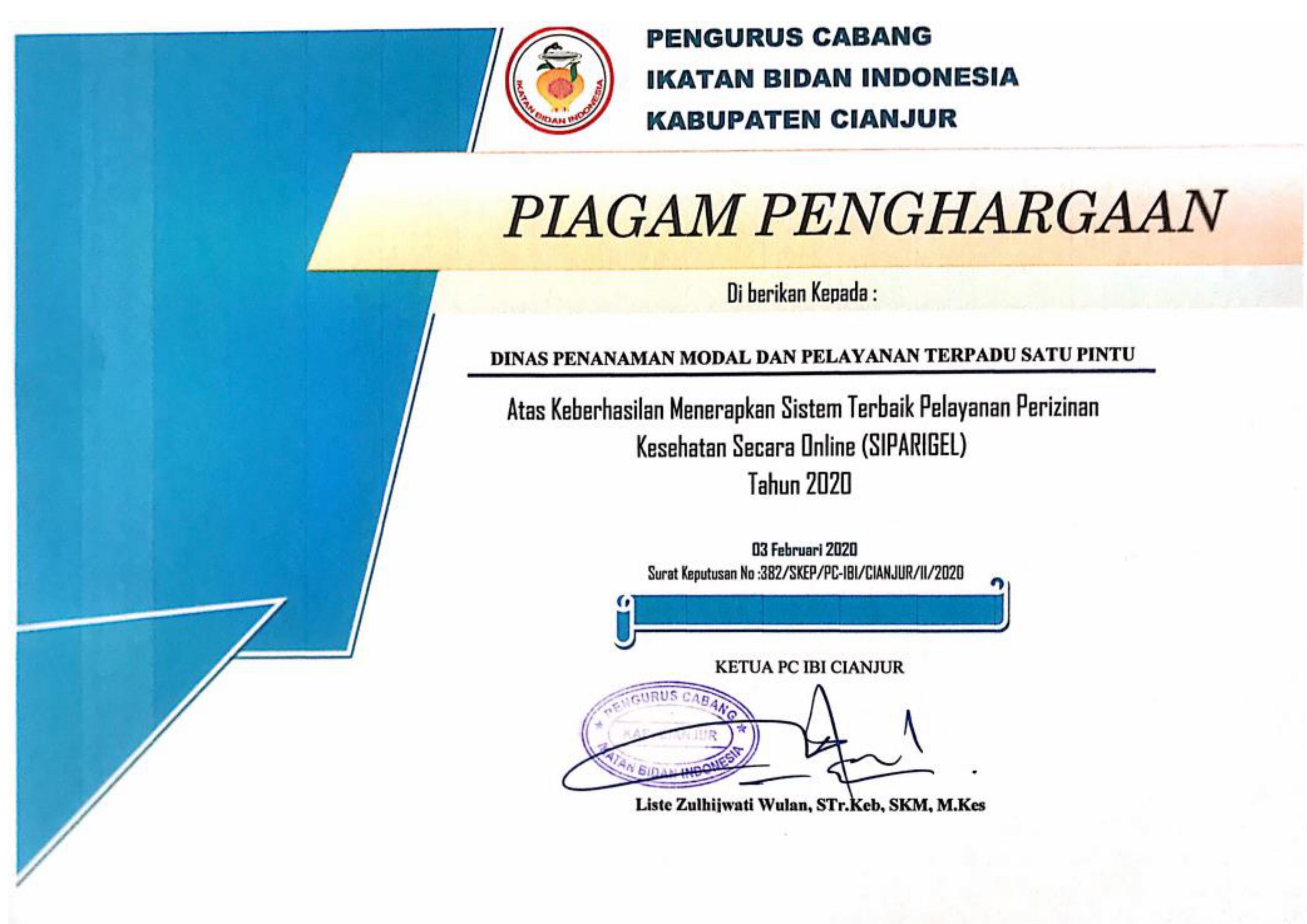ikatan-bidan-indonesia-kabupaten-cianjur-memberikan-piagam-penghargaan-kepada-dpmptsp-kabupaten-cianjur-atas-keberhasilan-penerapan-sistem-perizinan-online-di-sektor-kesehatan